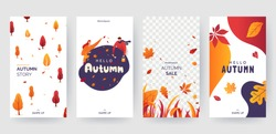 Set of autumn social media stories template. Colorful banners with autumn illustrations. Background collection with place for text. Concept for event invitation, promotion, advertising. Vector eps 10