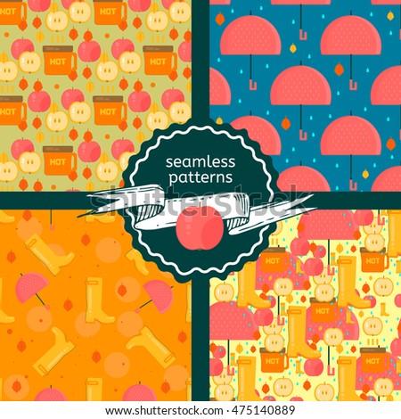 set of autumn stuff patterns