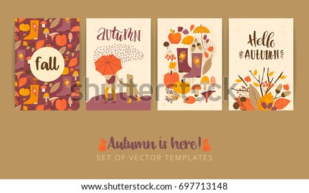 set of autumn templates vector