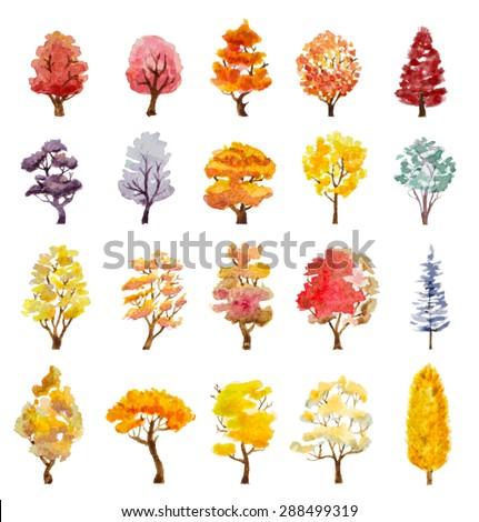set of autumn trees hand drawn