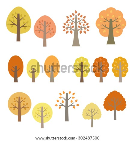set of autumn trees   vector