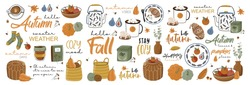 Set of autumn vector illustration with hand lettering. Trendy color palette and black ink calligraphy. Cute typography elements.