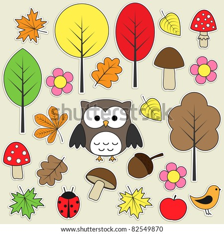 Set of autumnal bright stickers. Set 3 of 3.