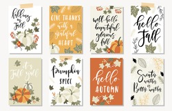 Set of autumnal card for thanksgiving or seasonal design with pumpkins, lettering and autumn leaves.