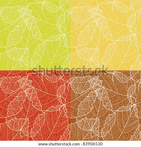 Set of 4 autumnal seamless for card (vector eps 8)
