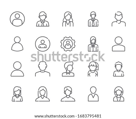 Set of avatar Related Vector Line Icons. Includes such Icons as person, user, male, female, human and more. - vector