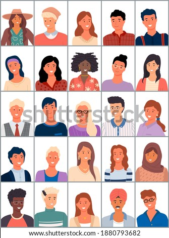 Set of avatars in flat design. Positive avatars of young people different nationalities. Stylish person faces and shoulders avatars. Portrait of cool students with different skin colors and hairstyles