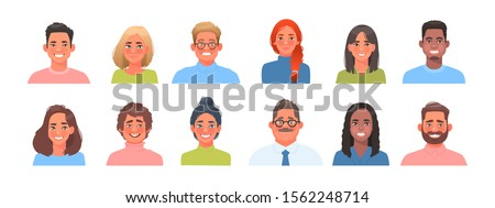 Set of avatars of characters of business men and women of different nationalities. Collection of portraits of multicultural people. Vector illustration in cartoon style