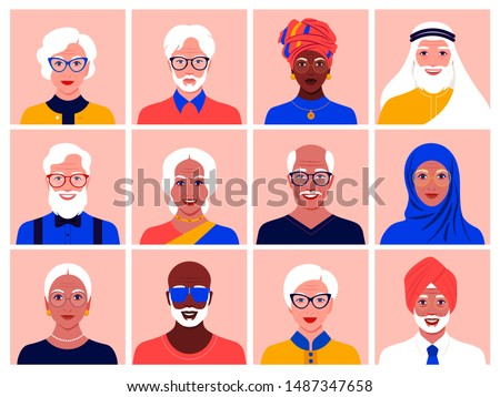 Set of avatars of elderly men and women of different nationalities and races. Diversity. Multinationality. Portraits of grandparents. Vector flat illustration