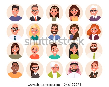 Set of avatars of happy people of different races and age. Portraits of men and women. Vector illustration in cartoon style.