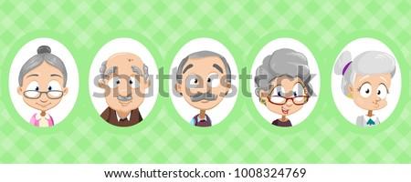 Set of avatars of old senior people. Vector illustration. Grandparents avatars