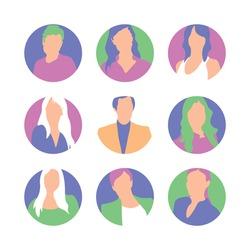 Set of AVATARS - Trendy FLAT icons | Quantum connection avatars. Social media, website element | Staff, company. MINIMALISM FLAT abstract people avatars. EPS10.