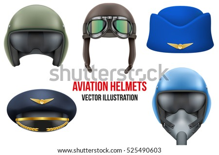 set of aviator helmets and hats