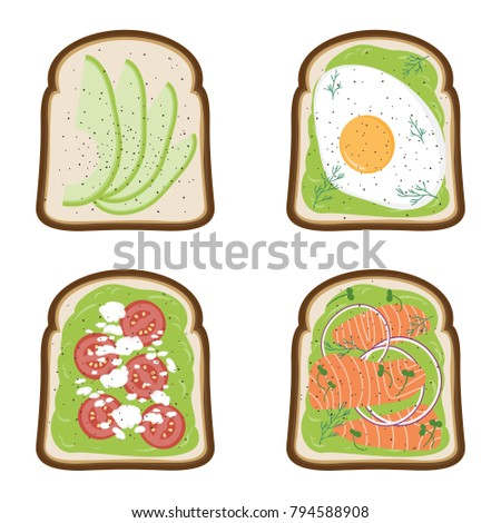 set of avocado toasts done in
