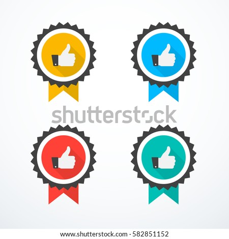 Shutterstock Set of award icons. Thumb up icons
