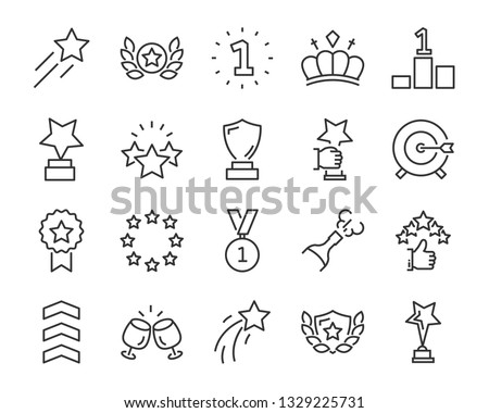 set of award line icons, such as star, champion, prize, achievement, winner, trophy, glory, certificate