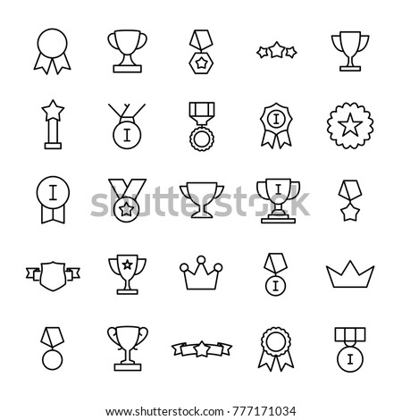 Set of 25 award thin line icons. High quality pictograms of achievement. Modern outline style icons collection. Prize, success, badge, cup, etc.