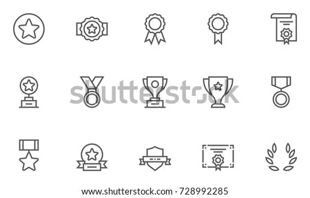 Set of Awards Vector Flat Line Icons.