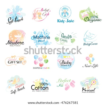 set of babies icon labels and