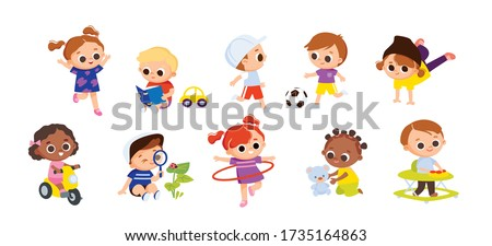 Set of babies kids characters doing activities. Children playing. Kids play football soccer. Girl rides a bicycle. Boy reading a book. Girl dancing street break dance.Boy walks in baby walker.