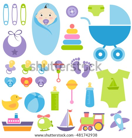set of baby boy elements