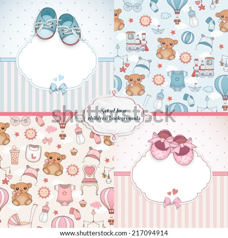 Set of baby cards. Newborn card design and seamless patterns. Can be used for wallpaper, pattern fills, web page background.