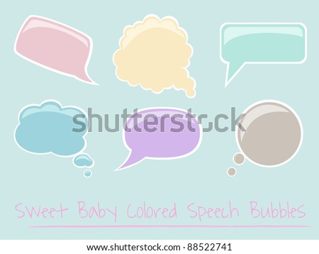 Set of Baby Colored Glossy Speech Bubbles, vector, easy to edit, each in separate layer