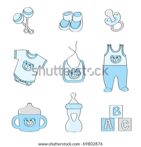 Set of baby elements - blue color for boys