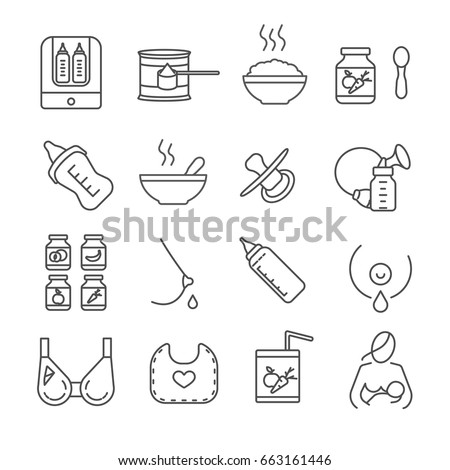 set of baby food related vector