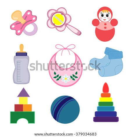 Set of baby objects isolated on white background.