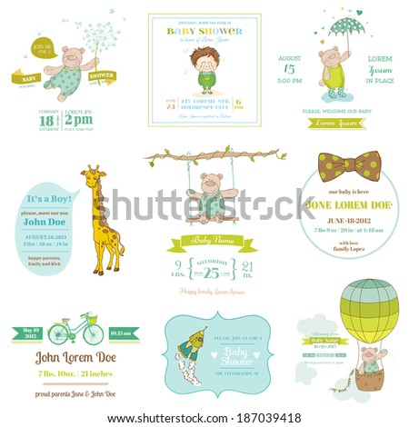 Set of Baby Shower and Arrival Cards for design and scrapbook in vector