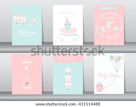Set of baby shower invitation cards,birthday cards,poster,template,greeting cards,animals,cute,birds,Vector illustrations