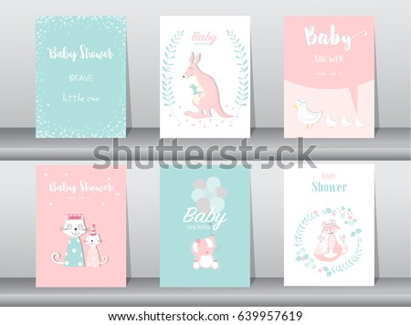 Baby shower invitation card template download free vector art set of baby shower invitation cardsbirthday cardspostertemplategreeting cards stopboris Images
