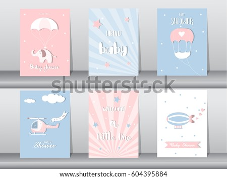 Set of baby shower invitation cards,birthday cards,poster,template,greeting cards,cute,plane,Vector illustrations