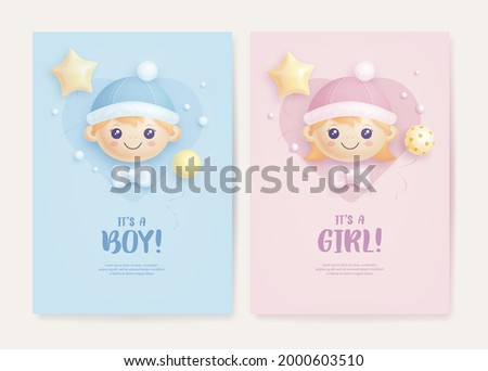 Set of baby shower invitation with cartoon baby girl, baby boy and helium balloons on blue and pink background. It's a boy. It's a girl. Vector illustration