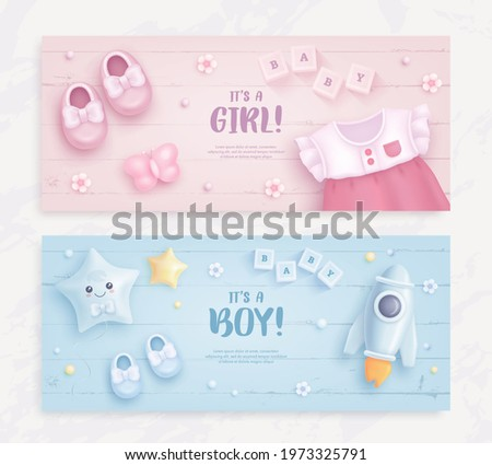 Set of baby shower invitation with cartoon baby shoes, dress, toys, helium balloons and flowers on blue and pink background. It's a boy. It's a girl. Vector illustration