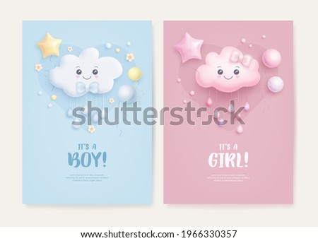 Set of baby shower invitation with cartoon cloud, helium balloons and flowers on blue and pink background. It's a boy. It's a girl. Vector illustration