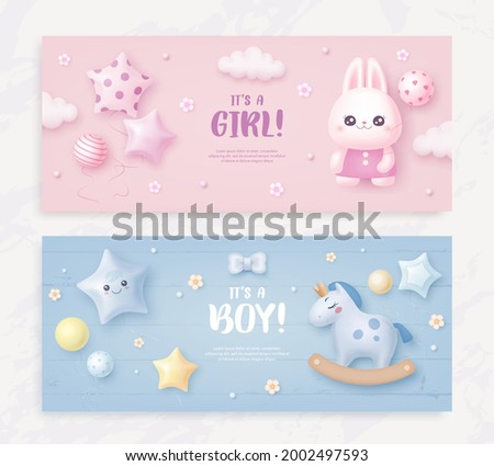 Set of baby shower invitation with cartoon horse, rabbit, helium balloons, flowers and clouds on blue and pink background. It's a boy. It's a girl. Vector illustration