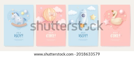 set of baby shower invitation