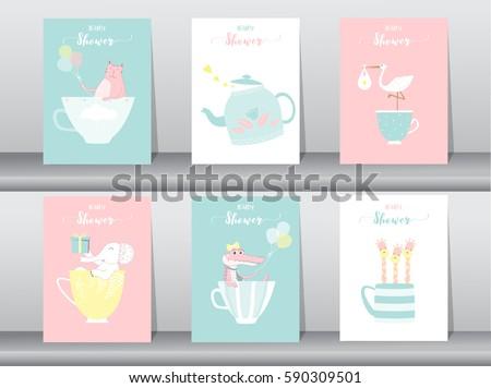 set of baby shower invitations
