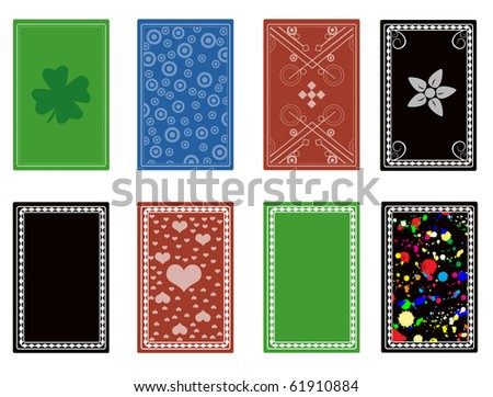 Set of back from playing cards. Vector illustration