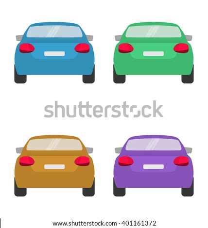 set of back of cars in vector