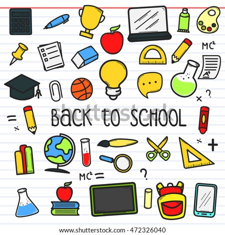 Set of back to school doodle icon. Back to school element design