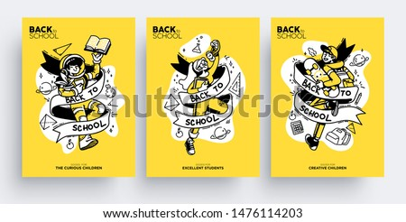 Set of Back to School greeting cards, posters or flyers. Cute happy children ready go back to school. Vector illustration