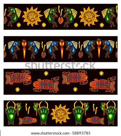 Set of backgrounds tribal style design.