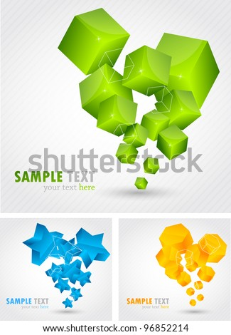 Set of backgrounds with abstract 3d element