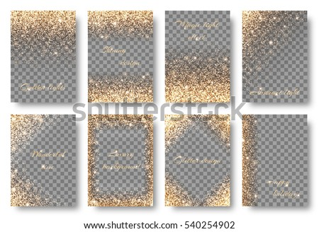 set of backgrounds with golden