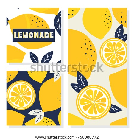 set of backgrounds with lemons