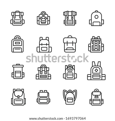 Set of backpack related vector line icons. Premium linear symbols pack. Vector illustration isolated on a white background. Web symbols for web sites and mobile app. Trendy design.  Stockfoto ©