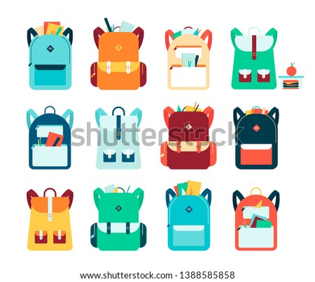 Set of backpacks or schoolbags with pockets and zipper flat vector illustration isolated on white background. Education and study rucksack for students and traveling icon. Stockfoto ©